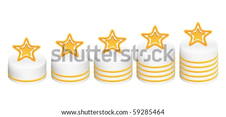 Five gold stars for ranking at forums and picture galleries - stock vector