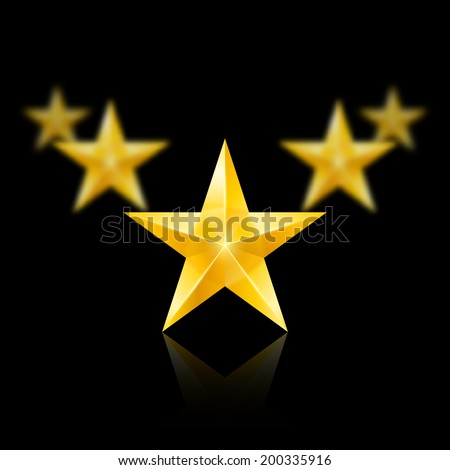 Five gold stars on black background - the first one in focus, the others blurry. - stock vector