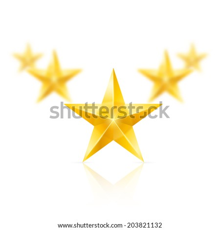 Five gold stars on white background - the first one in focus, the others blurry. - stock vector