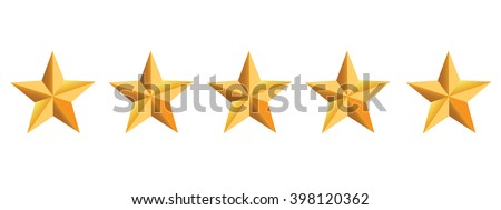 Five golden stars - stock vector