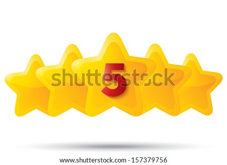 Five golden stars with digit. Star icons on white background. Five-pointed shiny star for rating. Rounded corners. Eps 10. - stock vector