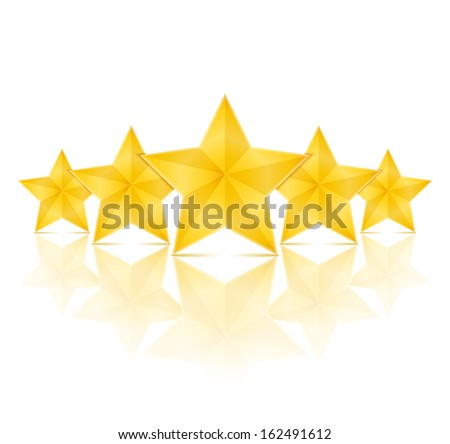 Five golden stars with reflection on white background, vector eps10 illustration - stock vector
