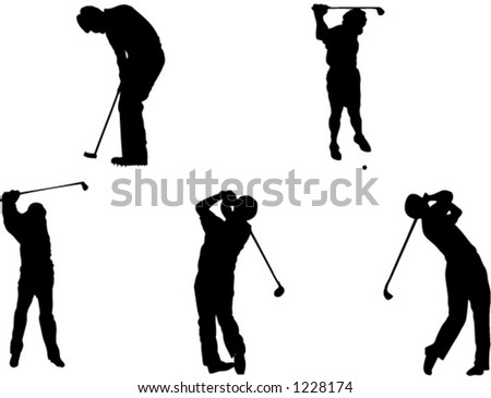 Five golf silhouettes - stock vector