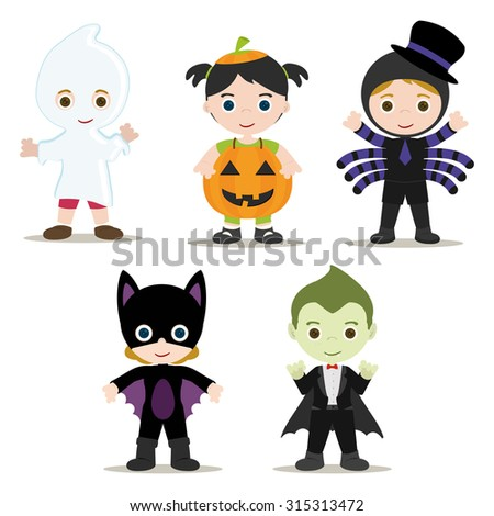 Five Halloween Kids with Costumes - stock vector