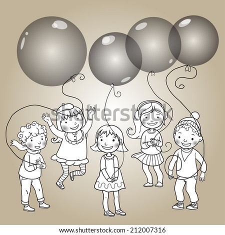 Five happy children with balloons. Back to School. Black and White. Isolated objects on simple background for picture books, magazines, advertising, Birthday Cards and more. VECTOR.