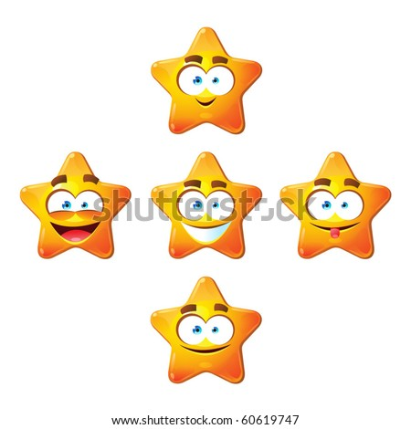 Five happy five-rays stars with eyes and laughing smiles. Yellow color.