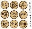 five human comical faces - stock vector