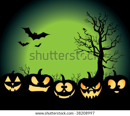 Five jack-o-lanterns sitting in a pumpkin patch, with bats, crows on a tree, and an evil green moon rising. - stock vector