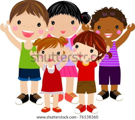 five kids - stock vector