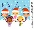 Five kids singing Christmas Carols while snow falls - stock vector
