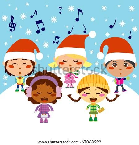 Five kids singing Christmas Carols while snow falls - stock vector