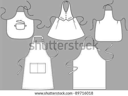 Five kinds of aprons with pockets and outsets - stock vector