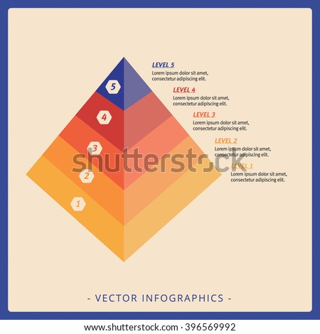 Five Level Pyramid Chart Template - stock vector