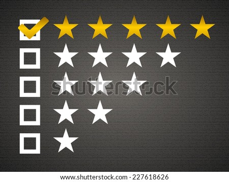 Five matted yellow web button stars ratings with reflection. Black background.. - stock vector