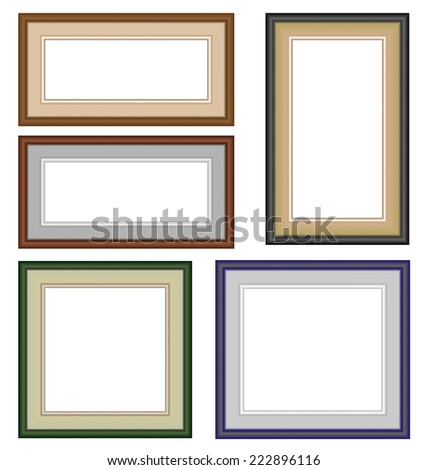 Five multicolor classic blank frameworks isolated on white - stock vector