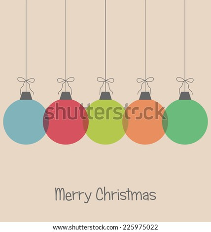 Five multicolored simple Christmas balls with bows isolated on beige background  - stock vector