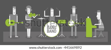 Five musicians, country and folk band, flat style vector illustration, black and white and green