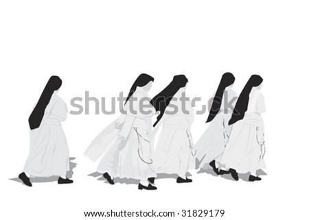 five nuns walking - stock vector