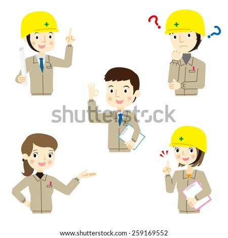 Five of various expressions of workers - stock vector