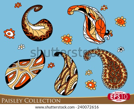 Five paisley ornament elements in four colors and some decorative flowers. - stock vector