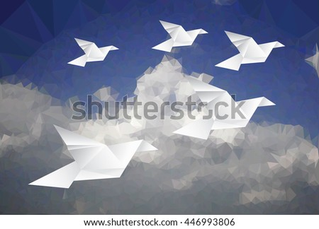 five paper doves in cloudy sky, low poly vector illustration, abstract background - stock vector
