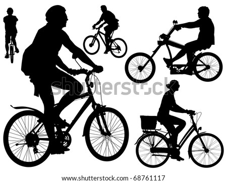 Five persons riding bicycles. Mountain, city, mono-wheel and tough guy kind  bikes. Black and white vector illustration. - stock vector