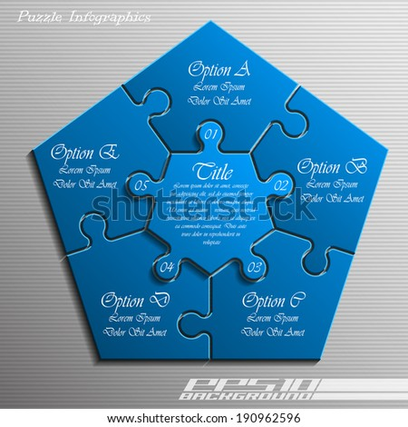 Five piece flat puzzle infographic presentation. 5 step circle business diagram. Five section compare service banner. Vector illustration template shape . 3d Abstract Background - stock vector