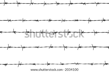 five pieces of barbed wire - stock vector