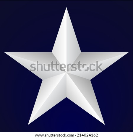 Five pointed star on blue background - stock vector