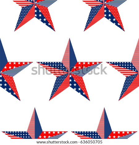 Five Pointed Star Pattern On White Background With USA Flag Ornament Can Be Used
