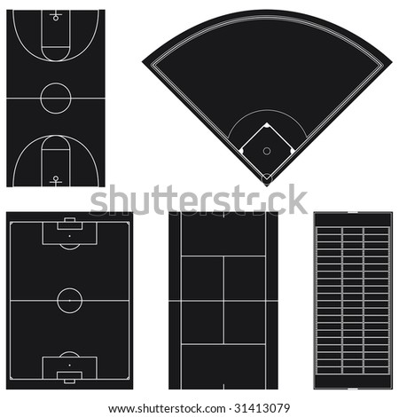 Five popular sport field layouts in black isolated on white background - stock vector