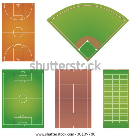 Five popular sport field layouts isolated on white background