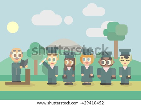Five pupils in a graduation day with headteacher waiting for diplomas - stock vector