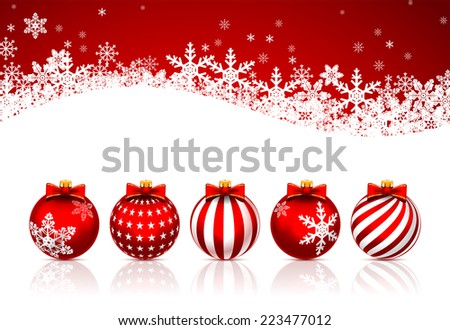 Five Red ?hristmas Balls on white background. Vector illustration. - stock vector