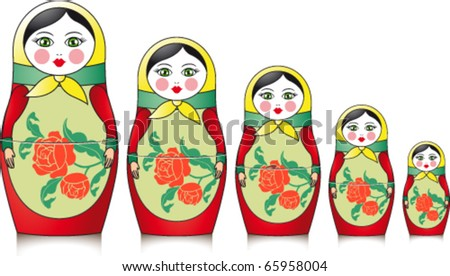 Five Russian Matryoshka - stock vector