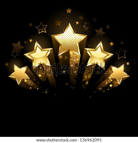 Five Shining Stars Gold Foil On Stock Vector 136962095 ...