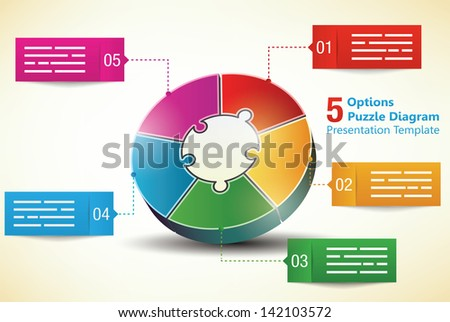 Five sided 3d puzzle presentation infographic template with explanatory text field for brochures, banners, ads and business statistics - stock vector