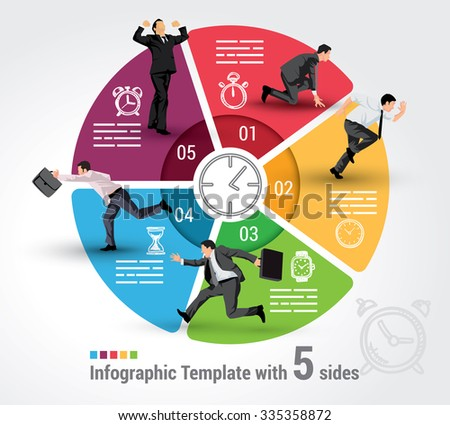 Five sides infographic template, a vector chart with 5 options used for web, banners, reports, presentation and brochures. - stock vector