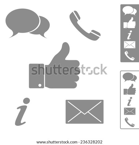 Five simple icons for website, blog. - stock vector