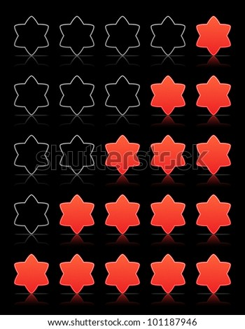 Five six-pointed stars ratings web 2.0 button. Red shapes with shadow and reflection on black, vector, 10eps.
