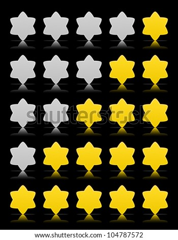 Five six-pointed stars ratings web button. Yellow and gray shapes with shadow and reflection on black, 10eps.