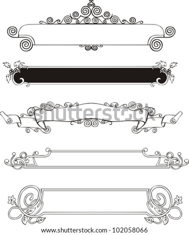 Five slim ornamental decorative panels for book covers or title pages Vector vinyl-ready EPS Illustration, black and white sketches