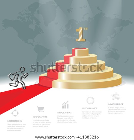 Five staircase strategy steps go to be number one, Vector business infographics template - stock vector