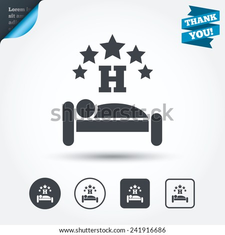 Five star Hotel apartment sign icon. Travel rest place. Sleeper symbol. Circle and square buttons. Flat design set. Thank you ribbon. Vector - stock vector