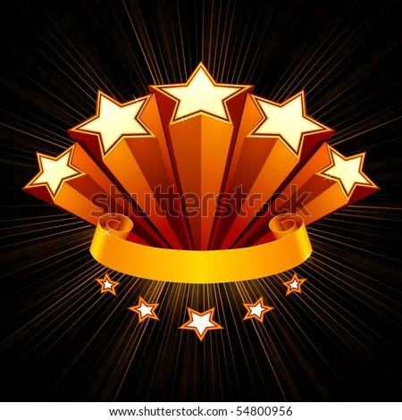 Five Stars emblem, black background - stock vector