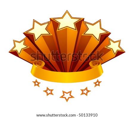 Five Stars emblem, vector - stock vector