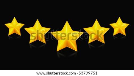 Five stars, on black - stock vector
