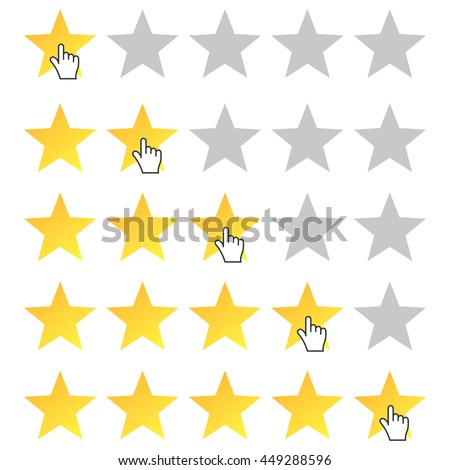 Five stars rating. Cursor icon. Set rating from one to five stars. Isolated, vector, eps 10.