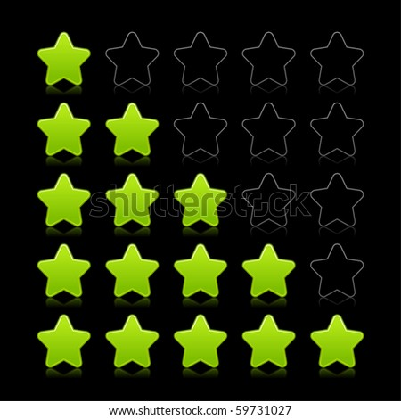 Five stars ratings web 2.0 button. Green and black shapes with reflection on black background