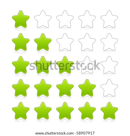 Five stars ratings web 2.0 button. Green and gray shapes with shadow and reflection on white - stock vector